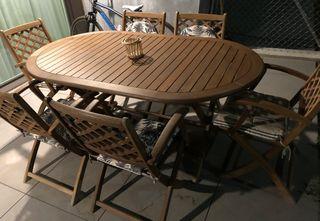 Conjunto mesa y sillas jardin madera de teca