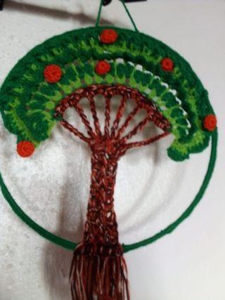 arboles y flor de lana hechos a mano