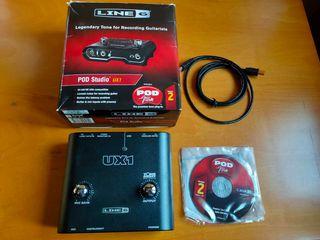 Interfaz Line6 POD Studio Ux1 con caja y cable USB