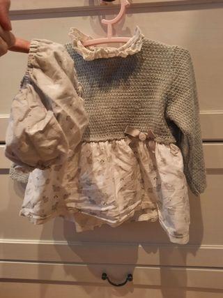 vestido más culote niña 12/18 meses