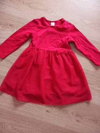 Vestido rojo niña Tul 2 años