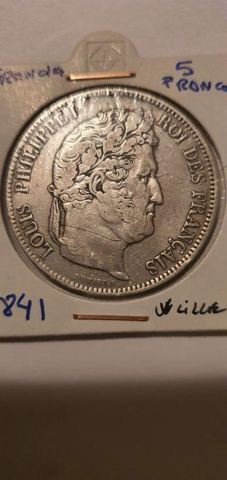 moneda 5 francos 5francs 1841