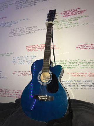 guitarra electroacústica stagg azul