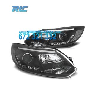 FAROS FORD FOCUS 11-14 TUBE LIGHT+LED FONDO NEGRO