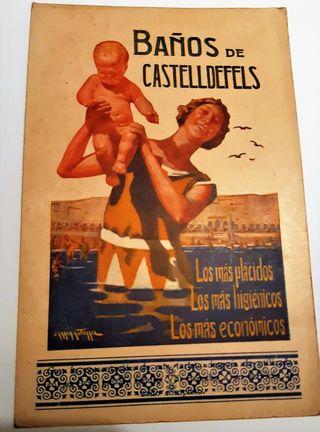 TARJETA POSTAL ANTIGUA PUBLICIDAD BAÑOS CASTELLDEF