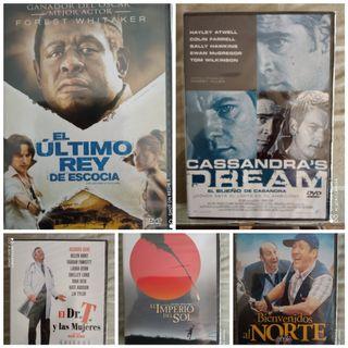 lote 5 películas en DVD por 4 € totalmente nuevas.