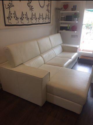 Sofá de lujo de piel auténtica blanca