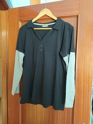 camiseta manga larga negra talla XL