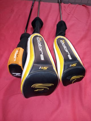 3 palos de golf con sus fundas king cobra 91