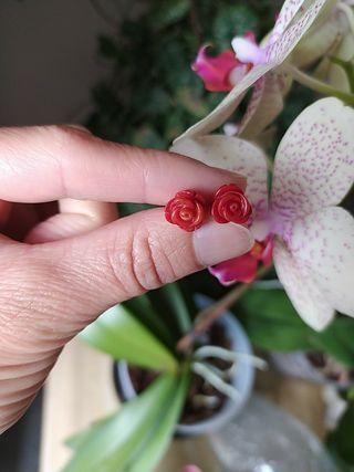 Pendientes plata 925 rosas coral rojo.