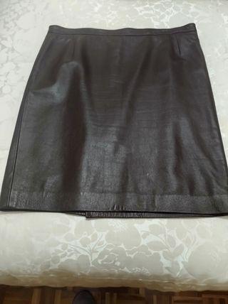 falda de cuero, piel auténtica, talla 48-50