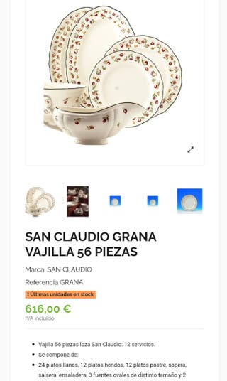 Vajilla 56 piezas loza San Claudio Grana .