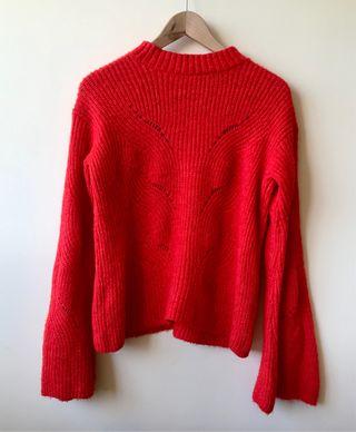 Jersey manga de campana rojo