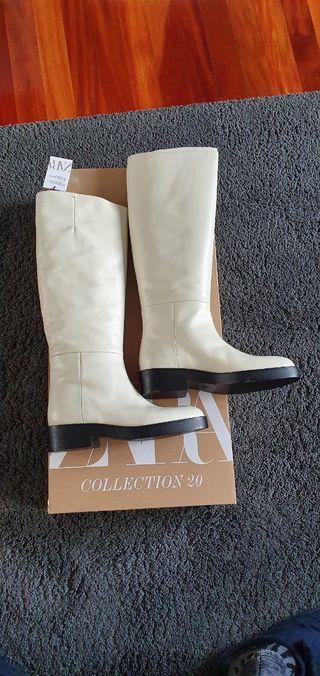 botas altas de piel de zara