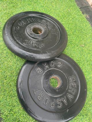 Discos pesas olímpicos gervasport 20 kg (pareja)
