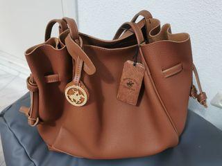 Bolso shopper cuero marrón Beverly Hills Polo Club