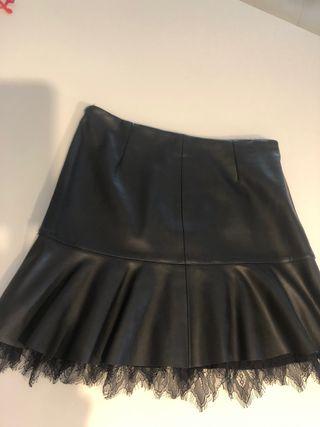 Falda piel Zara talla M