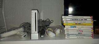 Wii blanca con 10 videojuegos