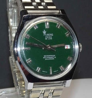 1031-Reloj RUBENS Prima Luxe, Swiss, vintage, NOS