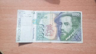 Antiguo billete de mil pesetas, 1000 pesetas.