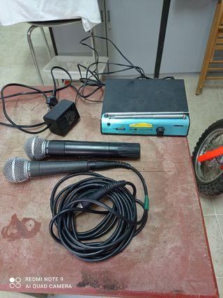 micrófono inalámbrico y con cable shure