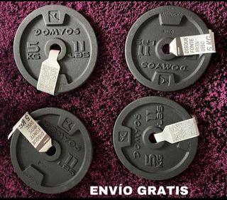 4 DISCOS DE 5KG PESAS (ENVÍO GRATIS)