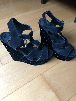 Zapatos plataforma tacon fiesta terciopelo