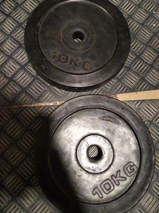 2 pesas de caucho de 10kg