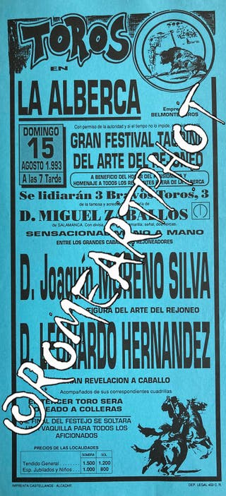 Cartel toros La Alberca de Zancara 15-08-1993