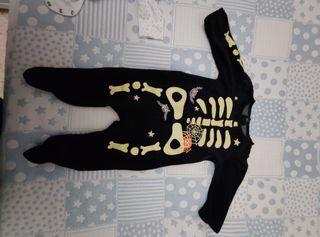 pijama terciopelo disfraz esqueleto talla 6 meses