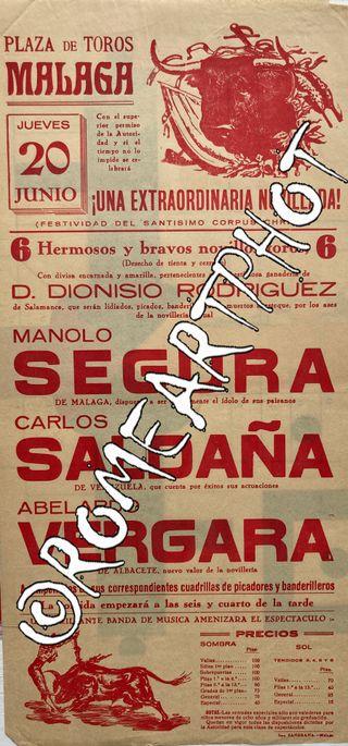 Cartel toros Málaga, Novillada 20-06-1957