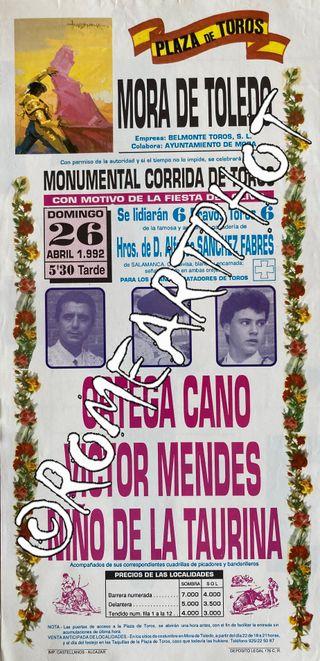 Cartel toros Mora de Toledo 26-04-1992