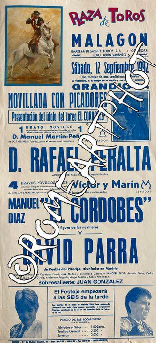 Cartel toros Malagón Novillada 12-09-1992