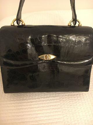 Bolso de piel de tortuga negro vintage