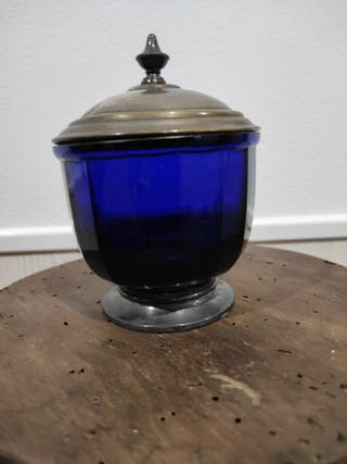 tarro azul cristal,antiguo