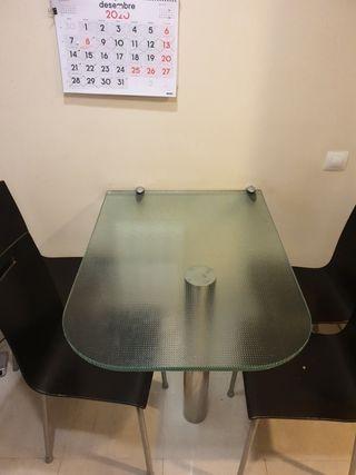 mesa de cristal para cocina con cuatro sillas