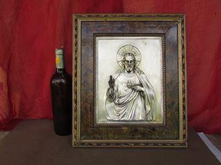 Cuadro años 50 metal madera Corazón de Jesús