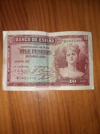 Billete diez pesetas Certificado de plata