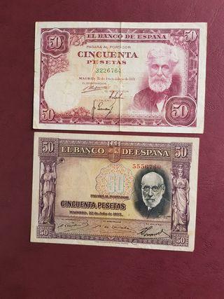 billetes 50 pesetas sin serie