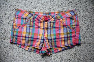 Shorts H&M Talla 42 Pantalones Cortos Mujer Cuadro