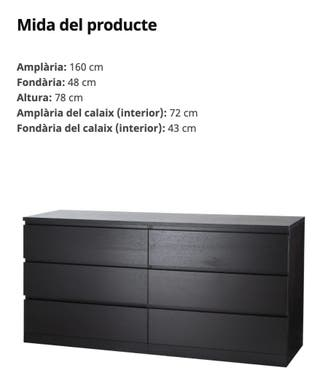 Comoda de Ikea con cristal