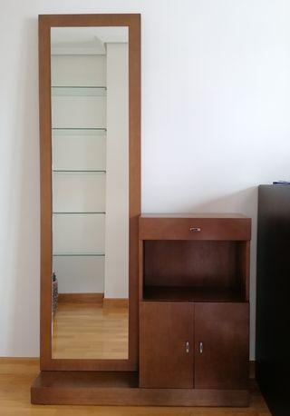 Mueble entrada recibidor de madera teca con espejo