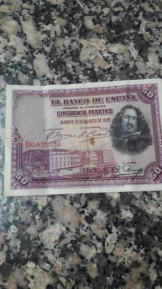 billete de 50 pesetas y 25 pesetas de el año 1928