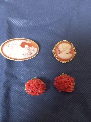 Dos Broches camafeo y pendientes