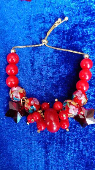 Conjunto de coral y cristal de murano