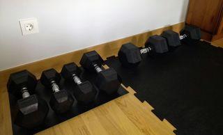 Mancuernas, suelo y banco gimnasio