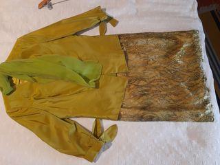 vestido tres piezas seda