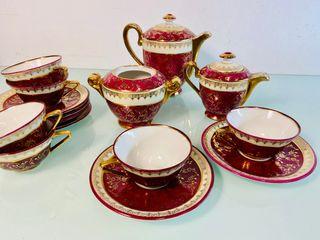 Juego te cafe porcelana Limoges oro fino