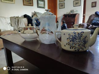 tres cafeteras porcelana