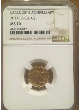 1/10 oz oro MS70 2011